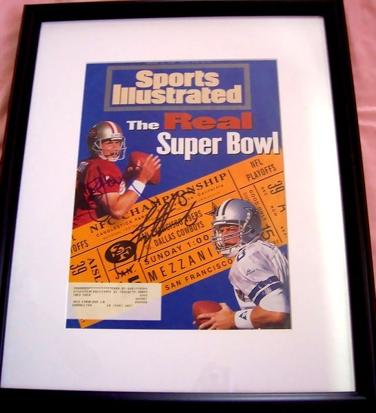Troy Aikman and Steve Young autographed 1995 NFC Championship Sports Illustrated cover matted and framed