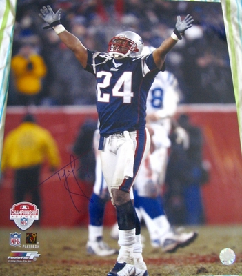 Ty Law autographed New England Patriots 2003 AFC Championship Game 16x20 poster size photo