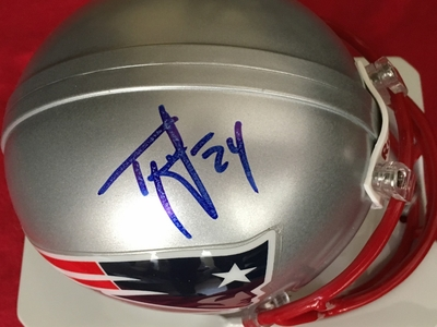 Ty Law autographed New England Patriots mini helmet