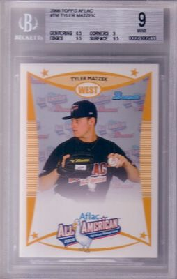 Tyler Matzek 2008 AFLAC Bowman Rookie Card graded BGS 9 MINT