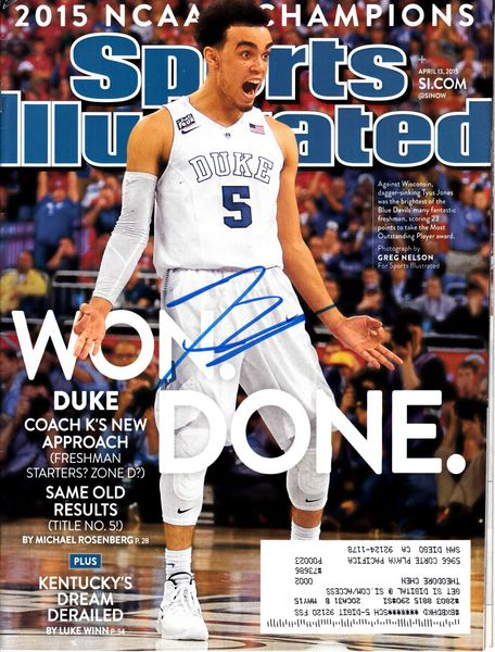 Tyus Jones autographed Duke Blue Devils 2015 NCAA National Championship Sports Illustrated