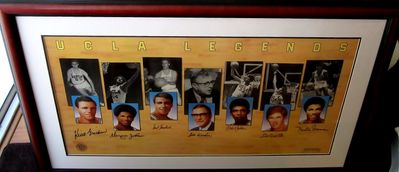 UCLA Legends autographed lithograph matted and framed (Kareem Abdul-Jabbar Bill Walton John Wooden)