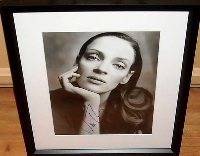Uma Thurman autographed black and white portrait photo matted and framed