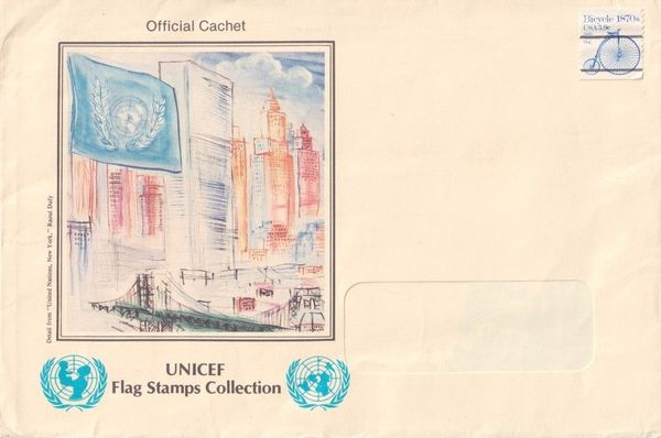 UNICEF Flag Stamps Collection oversized cachet envelope