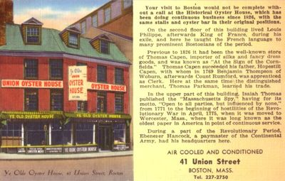 Union Oyster House (Boston) vintage postcard