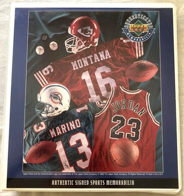 Upper Deck Authenticated 1995 dealer album or three ring binder (Michael Jordan Dan Marino Joe Montana)
