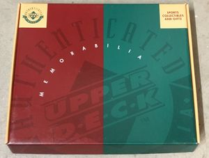 Upper Deck Authenticated (UDA) 8x10 photo or blowup card 1990s green and red used empty gift box