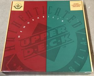Upper Deck Authenticated (UDA) jersey 1990s green and red used empty gift box