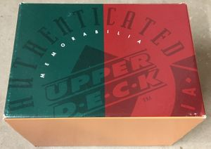 Upper Deck Authenticated (UDA) mini helmet or cap/hat 1990s green and red used empty gift box