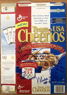 USA Softball stars autographed 1996 Olympic Team Cheerios box (Lisa Fernandez Michele Smith)