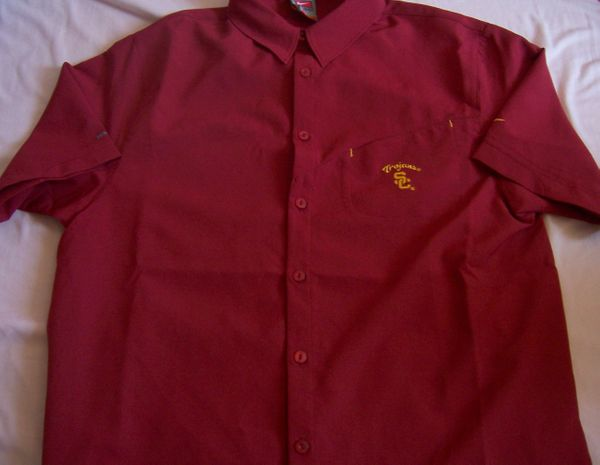 USC Trojans Nike cardinal red Dry Fit button down shirt LIKE NEW
