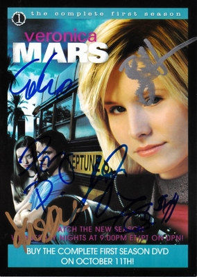 Veronica Mars cast autographed 2005 Comic-Con 5x7 photo card Kristen Bell Percy Daggs Jason Dohring