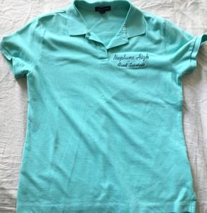 Veronica Mars TV series show used worn Neptune High Food Services embroidered aqua shirt (Terrylene Sacchetti)
