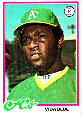 Vida Blue autographed Oakland A's 1978 Topps card