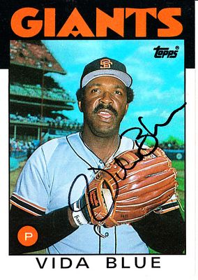 Vida Blue autographed San Francisco Giants 1986 Topps card