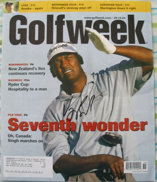 Vijay Singh autographed 2004 Golfweek magazine cover