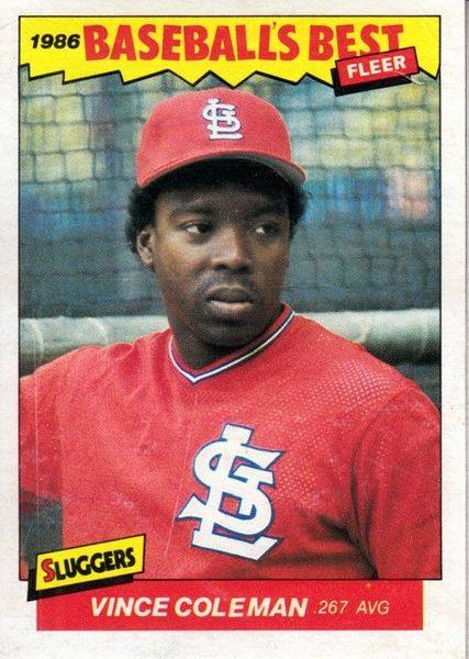 Vince Coleman St. Louis Cardinals 1986 Fleer Sluggers vs. Pitchers box bottom Rookie Card RARE