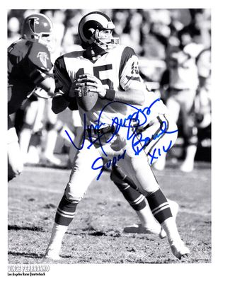 Vince Ferragamo autographed Los Angeles Rams 8x10 photo inscribed Super Bowl XIV