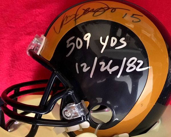 Vince Ferragamo autographed Los Angeles Rams throwback mini helmet with 509 YDS inscription