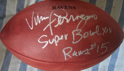 Vince Ferragamo autographed NFL game football inscribed Rams #15 Super Bowl 14