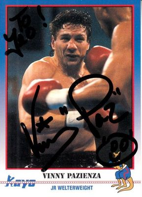 Vinny Pazienza autographed 1991 Kayo boxing card (personalized)