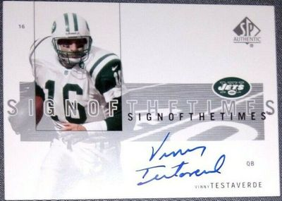 Vinny Testaverde certified autograph New York Jets 2001 SP Authentic card