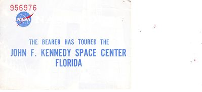 Vintage 1970s Kennedy Space Center tour souvenir ticket stub