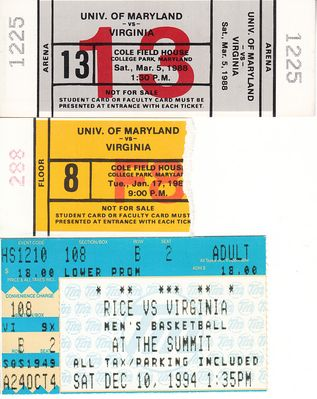 Virginia Cavaliers basketball lot of 3 vintage road game tickets