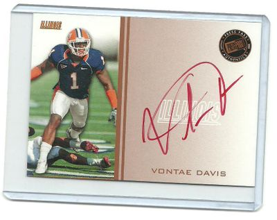 Vontae Davis certified autograph Illinois 2009 Press Pass card