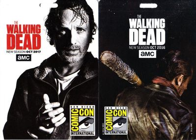 Set of 2 Walking Dead San Diego Comic-Con 2016 and 2017 plastic badges