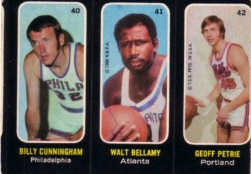 Walt Bellamy Billy Cunningham Geoff Petrie 1971-72 Topps Trios card