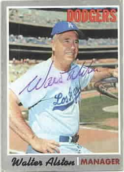 Walter Alston autographed Los Angeles Dodgers 1970 Topps card