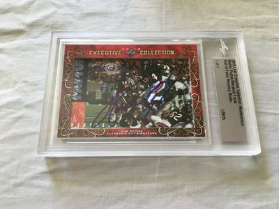 Walter Payton and Marshall Faulk 2018 Leaf Masterpiece Cut Signature certified autograph card 1/1 JSA