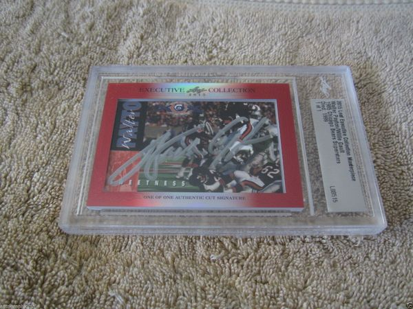 Walter Payton and Willie Gault 2015 Leaf Masterpiece Cut Signature certified autograph card 1/1 JSA