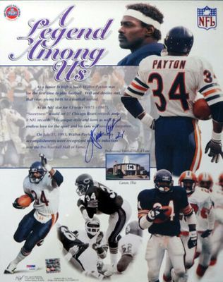 Walter Payton autographed Chicago Bears 16x20 Legend Among Us poster size photo (PSA/DNA)