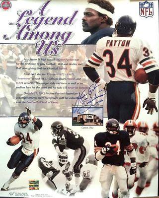Walter Payton autographed Chicago Bears 16x20 A Legend Among Us poster inscribed Sweetness and 16,726