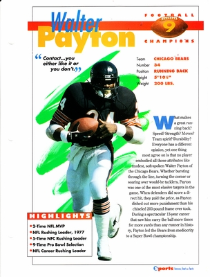 Walter Payton Chicago Bears 1994 Sports Heroes album page