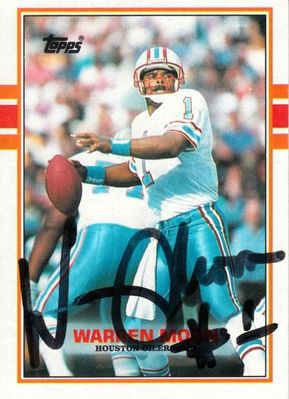 Warren Moon autographed Houston Oilers 1989 Topps card