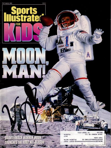 Warren Moon autographed Houston Oilers 1992 Sports Illustrated for Kids magazine