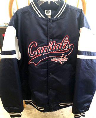 Washington Capitals Varsity blue white embroidered insulated quilted jacket NEW WITH TAGS