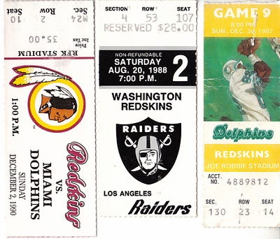 Washington Redskins lot of 3 vintage ticket stubs (Darrell Green Art Monk)