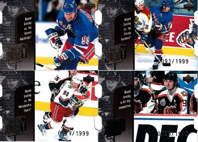 Lot of 4 Wayne Gretzky Year of the Great One Quantum Die Cut 1998-99 UD insert cards