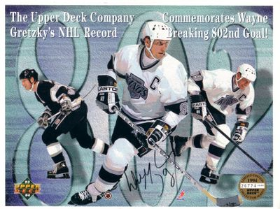 Wayne Gretzky autographed Los Angeles Kings 802nd Goal 1994 Upper Deck commemorative card sheet