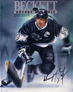 Wayne Gretzky autographed Los Angeles Kings 1992 Beckett Hockey artwork cover