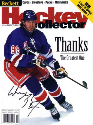 Wayne Gretzky autographed New York Rangers retirement 1999 Beckett Hockey magazine