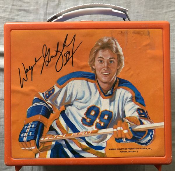 Wayne Gretzky Edmonton Oilers early 1980s Aladdin plastic lunch box great shape with UNUSED THERMOS