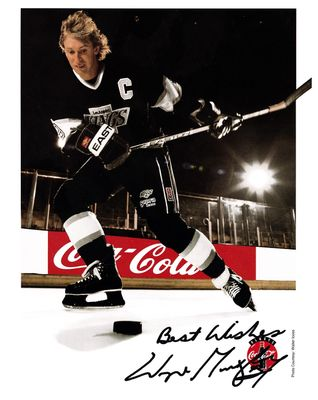 Wayne Gretzky Los Angeles Kings 1990s 8x10 Coke promotional photo with autopen signature