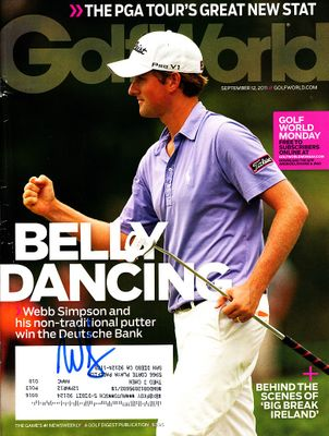 Webb Simpson autographed 2011 Deutsche Bank Golf World magazine