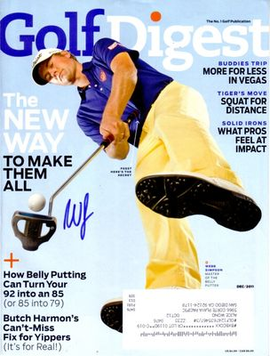 Webb Simpson autographed 2011 Golf Digest magazine cover