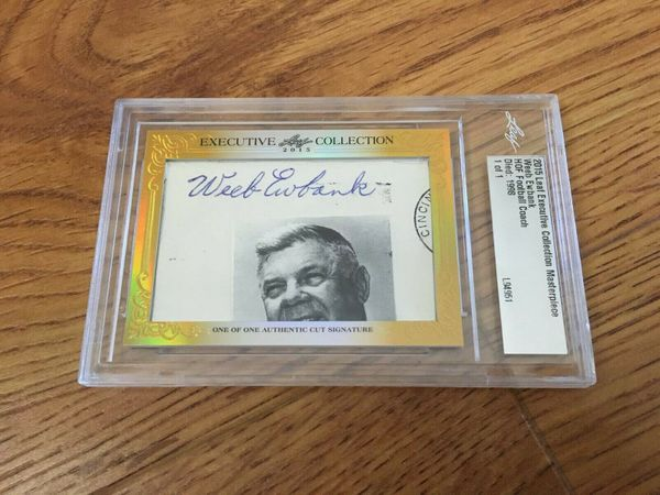 Weeb Ewbank 2015 Leaf Masterpiece Cut Signature certified autograph card 1/1 JSA